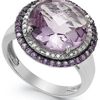 Sterling Silver Rose Amethyst (6 ct. t.w.) and Diamond (1/5 ct. t.w.) Ring