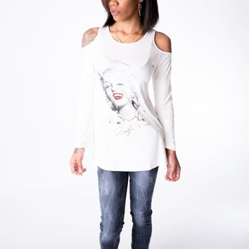 Marilyn Monroe White shirt w/ Cut out sleeves