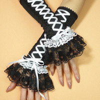 Renaissance Corset Gloves with Lace Ruffle, Laced Up Gothic Gloves in Black and White, Belly Dance, EGL, Romantic