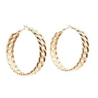 Gold Oversized Chain Hoop Earrings by Charlotte Russe