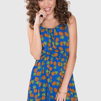 Fresh + Fruity Pineapple Dress - Blue