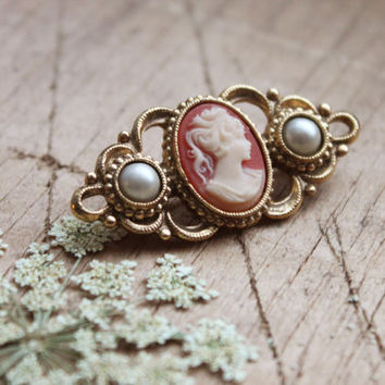 Vintage Cameo Pendant Brooch | Peach and Ivory, Gold Metal, Pearl-like Stones | Victorian Style, Retro, Classic, Unique Valentine's Day Gift