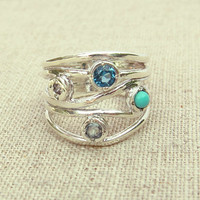 Blue Multistone Ring -  Statement Ring - Blue and Silver Ring