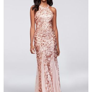 Glitter Lace and Jersey High-Neck A-Line Gown   David's Bridal