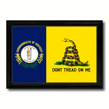 Gadsden Don't Tread On Me Tea Party Kentucky State Military Flag Canvas Print Black Picture Frame Gifts Home Decor Wall Art