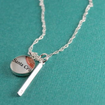 Sterling Bar Necklace + Personalized Map Charm