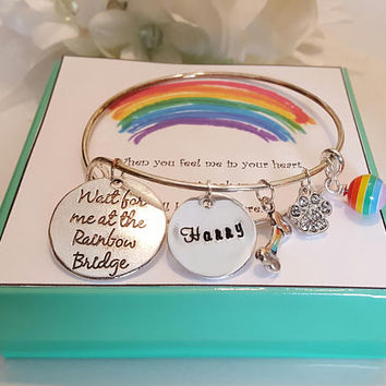 Wait for me at the Rainbow Bridge Adjustable Bangle Bracelet Pet Loss Sympathy Memory Hand Stamped Personalized Custom