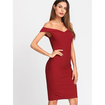 Fold Over Sleeve Sweetheart Neck Dress Red