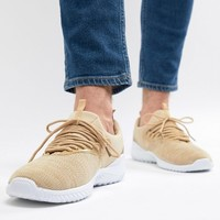 New Look Knitted Trainers In Stone at asos.com
