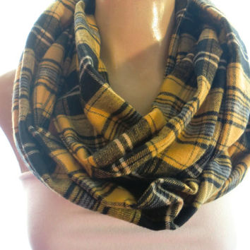 Plaid Flannel Infinity Scarf in Mustard yellow,black and gray- Flannel Infinity Scarf, Cowl, Circle Scarf, Loop, Fall Scarf, Fall Fashion