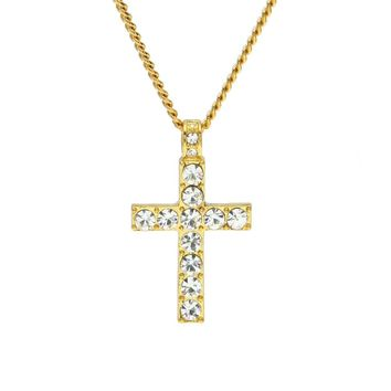 Hip Hop Men Women Jewelry Bling Rhinestone Crystal Cross Pendant Necklace