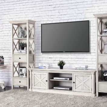 Furniture of america CM5089-TV-72-3PC 3 pc Georgia antique white finish wood TV entertainment center