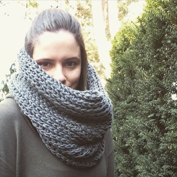Gray Scarf Chunky Cowl Scarf Hood Charcoal Grey Crochet Knitted Look Knit Scarf Infinity