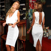Women Fashion Summer Sexy Elegant V-neck Sleeveless Open Back Two Piece Outfits & Sets Bodycon Bandage Clubwear Midi Pencil Dress = 1955635076