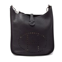 HERMES Evelyn2 PM Shoulder Bag Crossbody Clemence leather Black
