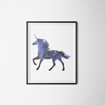 Galaxy Unicorn Art Printable - Space Fantasy Dorm Room Decor - Wall Art Print - Nebula Art Print