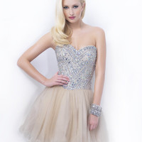 Champagne Beautifully Embellished Bodice Short Homecoming Dress - Unique Vintage - Homecoming Dresses, Pinup & Prom Dresses.