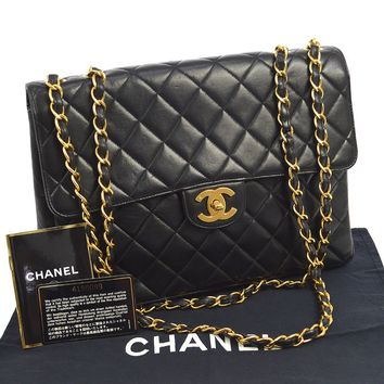 Auth CHANEL Jumbo Quilted CC Double Chain Shoulder Bag Black Leather V22131