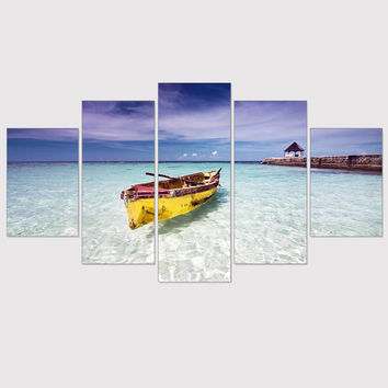 Unframed Canvas Painting Seascape Oil Picture Wall Picture Blue Ocean Boat Poster Seaview Art Print Mordern Home Decoration 5Pcs