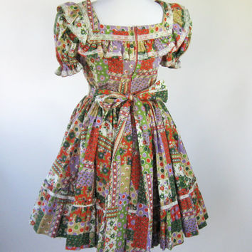 70s Square Dance Dress Country Western Swing Dress Womens Medium
