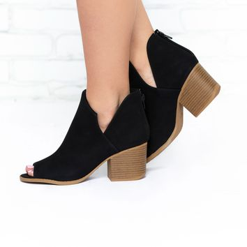 Emily Open Toe Booties in Black