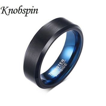 DCCKU62 2017 Fashion Ring Tungsten Carbide Wedding Ring 6mm width Blue and Black Color Fashion Jewelry anel masculino US Size 7-12