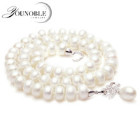Genuine natural pearl necklace pendant jewelry real wedding freshwater pearl necklaces women birthday anniversary best gift