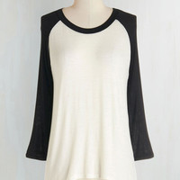 Menswear Inspired Mid-length Long Sleeve All Night Blogathon Top in Black