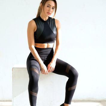 Shama Jade Equinox High-waisted Legging: Black with Shiny Black