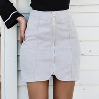 Canton Faux Suede Mini Pencil Skirt