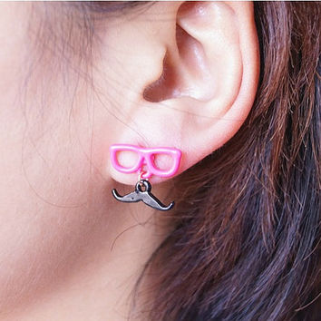 Fluorescent color glasses with mustache earrings, 5 colors available