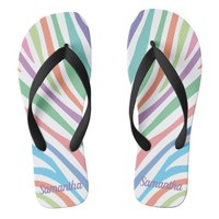 Pastel Tiger Stripes Flip Flops