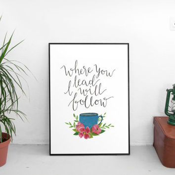 Gilmore girls, gilmore girls print, lukes diner, wall art prints, hand lettering, wall art quotes, coffee prints