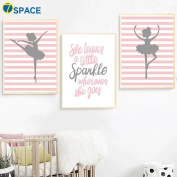 Ballet dancing Girl Quotes Nordic Poster Wall Art Canvas Painting Posters And Prints Nursery Wall Pictures Baby Girl Room Decor