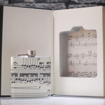 Vintage Book Safe & Musical Notes Liquor Hip Flask - The Music Encyclopedia