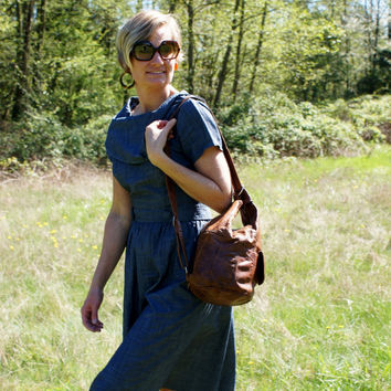 80's Rustic Distressed Brown Leather Sling Bag Purse