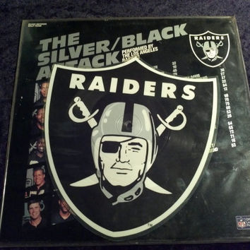 SALE Rare Vintage NFL 1986 Raiders Vinyl Record Album Cut Crest Shaped Silver Black Attack Rap by the LA Raiders Football Allen Davis Long
