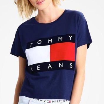 Tommy Jeans Classic Fashion Women Men Casual Print T-Shirt Pullover Top Blue I