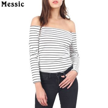 Sexy Off Shoulder Tops Black White Women Striped T-Shirts Long Sleeve Slim Fit Tees Shirt Casual Women Knitted Neck