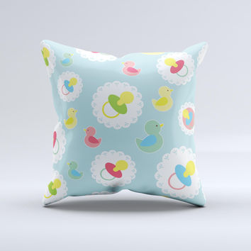 Colorful Rubber Ducky and Blue Ink-Fuzed Decorative Throw Pillow