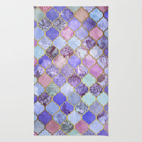 Royal Purple, Mauve & Indigo Decorative Moroccan Tile Pattern Rug by Micklyn