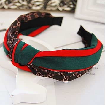 GUCCI red and green striped letters wild Western knot fabric hair card wide hair bands Dark coffee