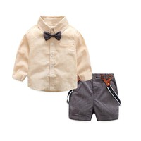 2 pieces set baby boy clothes gentleman School Wind Children Baby Boys T-shirts Tops+Pants Outfits baby Clothes boys set