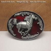 HORSE RED Cowboy Metal Belt Buckle Texas Fashion Mens Western Badge Feathers Native Avengers