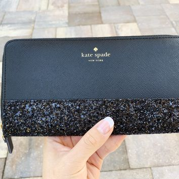 Kate Spade Greta Court Neda Zip Around Wallet Glitter Black