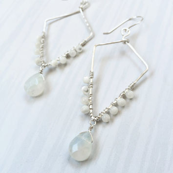 Pearl Wire Earrings (The Lana) Mother of Pearl - Wire Wrapped - Polygon shaped hoops