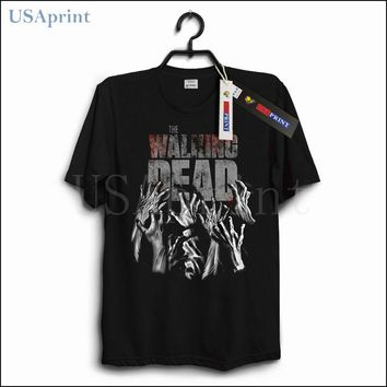 USAprint Men Black T Shirts Walking Dead Horror Movie Blood Zombie T-shirt Designer Cotton Casual Top Stylish Clothing Male Tees
