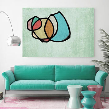 """Vibrant Colorful Abstract-0-35. Mid-Century Modern Green Canvas Art Print, Mid Century Modern Canvas Art Print up to 72"""" by Irena Orlov"""