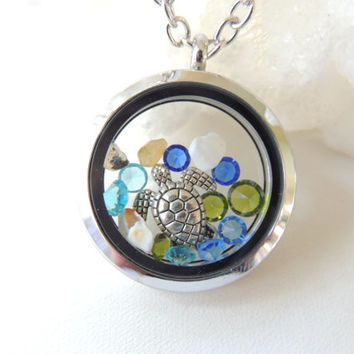 Beach Living Locket with Floating Charms,Turtle Charm Necklace, Living Locket with Charms, Nautical Beach Necklace, Gift for Girls. B171