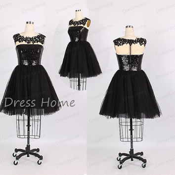 Sexy Shiny Black Sequins See Through Tulle Short A Line Homecoming Dress/Little Black Party Dress/Cheap Homecoming Dress/Juniors Dress DH192